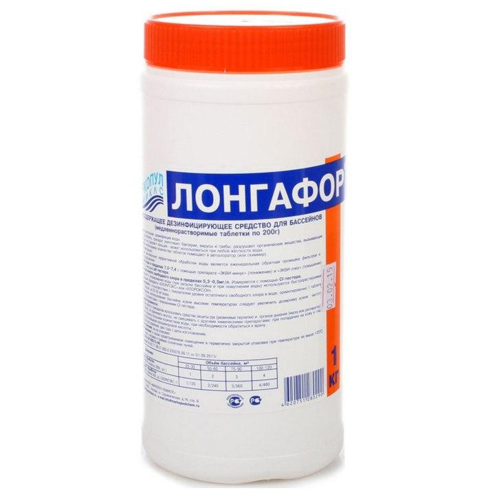 Лонгафор-200г/1кг медленнорастворимый для хлорной дезинфекции воды